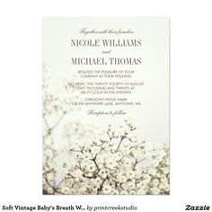 Shop Soft Vintage Baby's Breath Wedding Invitations created by printcreekstudio. Personalize it with photos & text or purchase as is! Spring Wedding Invitations, Diy Invitations, Wedding Invitation Cards, Invitation Design, Wedding Stationery, Wedding Cards, Trendy Wedding, Floral Wedding, Rustic Wedding