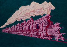 Steampunked A4 print is €18 from JamArtPrints.com. Designed and signed by Irish Artist Paddy Duffy this pink and navy illustration of a fierce and sharp looking train will bring out the inner child in any man, making it a great gift and it will look well hanging in a man cave or bachelor pad. #jamartprints #homedecor #walldecor #interiordesignidea Irish Art, Duffy, Inner Child, Man Cave, A4, Steampunk, Great Gifts, Train, Art Prints