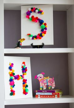 Pom pom monogram art - a fun kids summer craft for the playroom! Kids Crafts, Crafts For Kids To Make, Summer Crafts, Toddler Crafts, Projects For Kids, Craft Projects, Arts And Crafts, Room Crafts, Craft Ideas