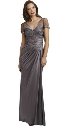 Style#: 081881700              Colors: SILVER              Description: DRAPED JERSEY COVERED DRESS              Sizes: NOT CUT