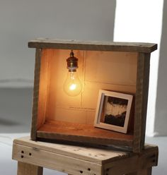 HANDMADE Photo Lightbox #224 _ Made last August 2015 | Reclaimed old wood box + Handmade framed photo + old wire & lamp + light DIMMER ····· One of the last lightboxes available at my SHOP ····· $164 USD / 150 €