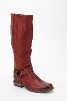 Frye Phillip Tall Harness Boot.. the zipper up the back is the key seller for me.
