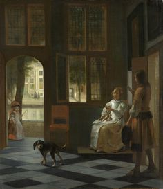 """Pieter de Hooch, painted in 1670, http://historyofpaintings.com/  titled """"Man Handing a Letter to a Woman in the Entrance Hall of a House"""" #smartphone #painting #iphone #apple #android #phone #art #painting #TimCook"""