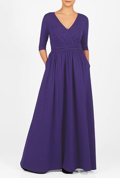 This is the dress we ordered for Betsy:  eShakti Women's Surplice cotton knit maxi dress 5X-34W Tall Masquerade purple