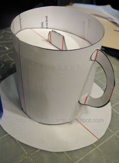 Tea cup pop up card template and tutorial. FREE Download files in PDF or SVG pg.1 and SVG pg.2or DXF pg.1 and DXF pg.2 and cut out pieces.