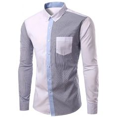 19.65$  Watch now - http://diyql.justgood.pw/go.php?t=178927006 - Casual Splicing Turn Down Collar Long Sleeves Shirt For Men