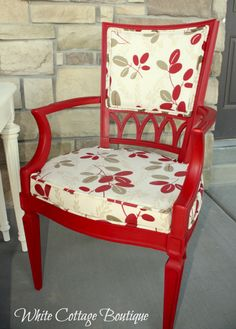 Red and White Dining Set Upholstered Chairs. Repainting and replacing cane back in dining chairs.