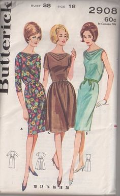 MOMSPatterns Vintage Sewing Patterns - Butterick 2908 Vintage 60's Sewing Pattern CHARMIGN Rockabilly Cocktail Party Draped Cowl Neck Sheath or Flared Skirt Dress