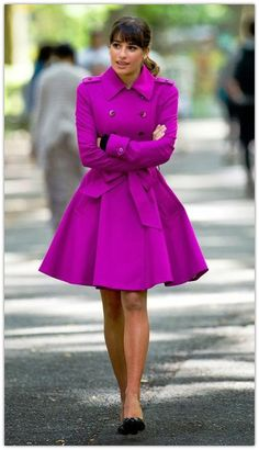 How adorable is this coat?? Purple double breasted trench winter coat