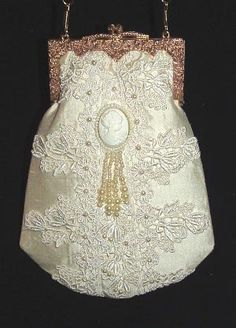 Victorian Style Ivory silk Purse with cameo and pearls