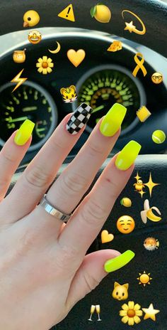 Yellow - gelb to checkered nail print. Yellow - gelb to checkered nail print. Yellow Pin by Marsilda on Nails in 2019 Neon Yellow Nails, Neon Acrylic Nails, Yellow Nails Design, Neon Nail Art, Yellow Nail Art, Neon Nails, Acrylic Nail Designs, Nail Art Designs, Acrylic Art