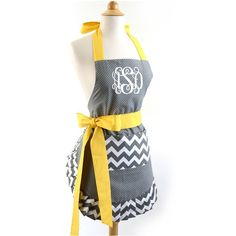 Monogrammed Grey and White Chevron With Yellow Bow Ruffle Bow Apron... ($36) ❤ liked on Polyvore featuring home, kitchen & dining, aprons, home & living, linens, white, white ruffle apron, frilly apron, white apron and yellow apron