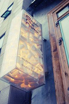 Really cool cafe signage #デザイン #Design #看板 #cafe Cafe Signage, Wayfinding Signage, Signage Design, Cafe Design, Store Design, Web Design, Restaurant Signage, Office Signage, Coffee Shop Signage