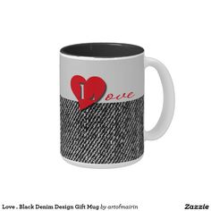 Love . Black Denim Design Valentine's Day Gift Mugs for him. Matching cards, postage stamp and other products available in the Holidays / Valentine's Day Category of the artofmairin store at zazzle.com