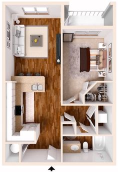 Trendy Ideas for apartment layout ideas floor plans loft Studio Apartment Floor Plans, Bedroom Floor Plans, Apartment Plans, Apartment Design, Small Apartment Layout, 1 Bedroom Apartment, Sims House Plans, Small House Plans, House Floor Plans
