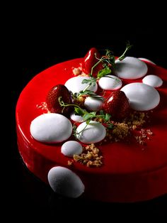 Charlotte - Tahiti vanilla mousse, finger sponge with strawberry coulis, yuzu strawberry jelly, vanilla marshmallow