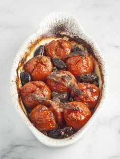 Roasted Tomatoes Provencal (w/kalamata olives, garlic, capers, dried thyme, anchovy fillets)