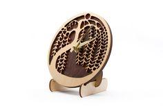 DESK CLOCK Weeping 6 Laser Cut Wood Clock by ZephyrWoodDesigns