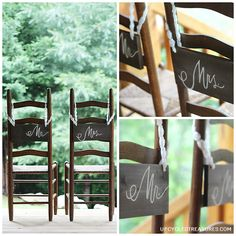 DIY Rustic Wedding Chair Signs. How to make personalized groom and bride chair signs via A Handcrafted Wedding #DIY #wedding #chairsigns {ahandcraftedwedding.com}