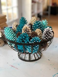 Painted Festive Pinecone Basket/Winter Table Decor/Pinecone Table Decor/Pinecone Centerpiece - Decoration Fireplace Garden art ideas Home accessories Fall Crafts, Holiday Crafts, Home Crafts, Diy And Crafts, Christmas Crafts, Crafts For Kids, Christmas Ornaments, Xmas, Blue Christmas