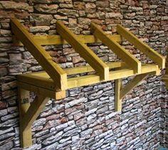 Wooden Front Door Slatted Canopy Porch / Timber Hand Made Porch Front Door Canopy Roof, Front Door Awning, Porch Awning, Porch Doors, Awning Canopy, Front Door Canopy Diy, Door Entryway, Porch Timber, Timber Front Door