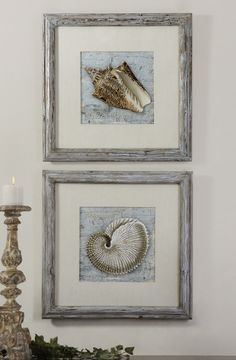 Frames feature a unique, reclaimed wood look with a light brown base and a black and brown wash with a blue gray glaze. Prints are accented by off-white linen mats and are under glass.23 W X 23 H X 1 D (in)