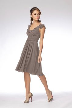 "WToo flutter sleeve chiffon bridesmaid dress in ""stone""."