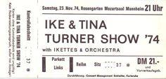 Ike & Tina Turner – Ticket Originalticket der Ike & Tina Turner Show vom 23. November 1974 im Mozartsaal in Mannheim. Kontrollabschnitt unbenutzt und für das Alter in Topzustand. Super seltenes Sammlerstück. www.starcollector.de