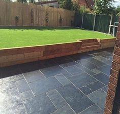 Browse images of black modern Garden designs: GALAXY SANDSTONE PAVING. Find the best photos for ideas & inspiration to create your perfect home. Back Garden Design, Modern Garden Design, Backyard Garden Design, Backyard Landscaping, Landscaping Ideas, Backyard Ideas, Garden Paving, Garden Shrubs, Garden Makeover