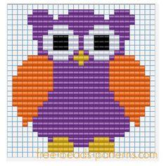 Halloween owl free Pyssla pixel art beads design for children