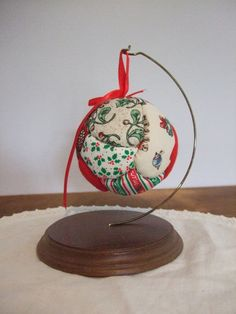 Quilted Christmas Ball Ornament by jessamyjay on Etsy