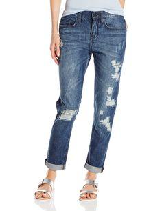 DKNY Jeans Women's Rip and Repair Bowery Boyfriend, Medium Indigo, 14. Mid rise, rolled hem. Rip and repair details.