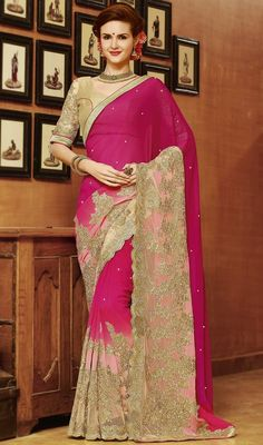 A perfect example for classic style, this pink color shade embroidered georgette saree. The wonderful saree creates a dramatic canvas with brilliant lace, stones and resham work. Upon request we can make round front/back neck and short 6 inches sleeves regular sari blouse also. #cutworksarees #indiansaree #indianclothes