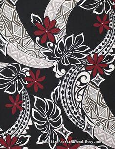 Fabrics Hawaii Tropical Upholstery Polynesian Tattoo by HawaiianFabricNBYond Polynesian Tattoos Women, Polynesian Designs, Polynesian Art, Maori Designs, Hawaiian Tiki, Hawaiian Tribal, Hawaiian Tattoo, Hawaiian Legends, Tapas