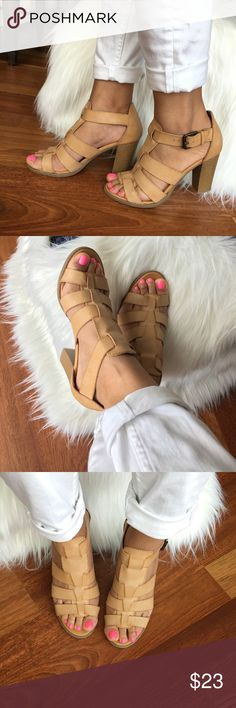 "Apt. 9 Tan  thick straps sandals Apt. 9 sandals- light tan, thick straps, worn once, no flaws, 3.75"" heels, size 8M. Apt. 9 Shoes Sandals"