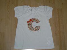 camiseta con inicial camiseta camiseta de algodón,telas de algodón cosido a mano
