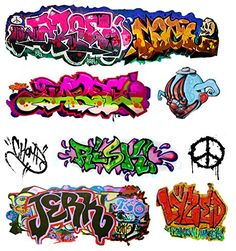 N Scale Water Transfer Decals Nine Assorted Graffiti Decals