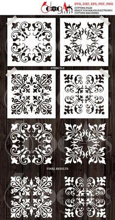 4 Fleur De Lis Tile Digital Stencil Template Designs SVG DXF   Etsy Cricut, Stencil Designs, Chip Carving, Film, Stencils, Stencil Painting, Border Design, Beautiful Paintings, Diy Art