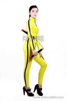 Killing Bill Costume / Woman Latex Catsuit ,Latex Clothing
