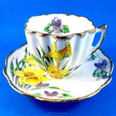 Handpainted Yellow Daffodils and Purple Violets Melba Tea Cup and Saucer Set   Antiques, Decorative Arts, Ceramics & Porcelain   eBay!