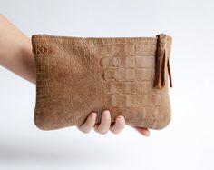 Brown leather clutch - Crossbody purse - Clutch bag by Mayko Bags