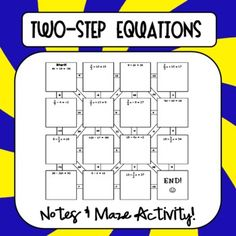 Cornell Notes on Two-Step Step Equations followed by a maze activity for students to practice.  FREEBIE!