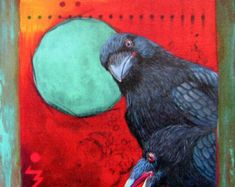 Items similar to Print Art canvas gift Collage Mixed Media Art Painting Illustration bird nature Gift Raven Crow Autographed Emanuel M. Ologeanu on Etsy Native American History, Native American Indians, American Art, Symbolic Representation, Crow Art, Crows Ravens, All Art, Canvas Art Prints, Nativity