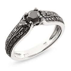 3/4 CT. T.W. Enhanced Black Diamond Engagement Ring in Sterling Silver