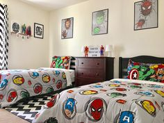 Teen Boy Bedding Sets with Superheroes Marvel themed - Inspirational Teen Boy Bedding Sets with Superheroes Marvel themed, My sons Super Hero Bedroom Homemade Backboard From Ic Books I Boys Superhero Bedroom, Superhero Room Decor, Marvel Bedroom, Boys Bedroom Decor, Bedroom Ideas, 6 Year Old Boy Bedroom, Decor Room, Bedroom Themes, Wall Decor