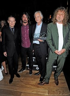 John Paul Jones, Jimmy Page and Robert Plant with Dave Grohl