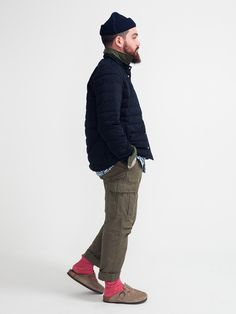 Navy Peacoat, Olive Gray Chinos, and Brown Birkenstocks, Men's Fall Winter Fashion.