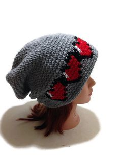 Pixel Heart Slouchy Beanie Crochet Geeky Winter Hat Pixel Gamer Beanie Health Bar Beanie by AddSomeStitches  http://ift.tt/1EGvnla Slouchy Hat, Ravelry, Winter Hats, Slouch Hats, Fair Isle Knitting, Knit Stitches