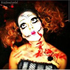 Makeup and hair by me for Halloween Hair Wars #mua #makeup #makeupartist #halloween #creepy #dollmakeup #halloweenmakeup #curls #avantgarde #hairwars #specialfx #fxmakeup