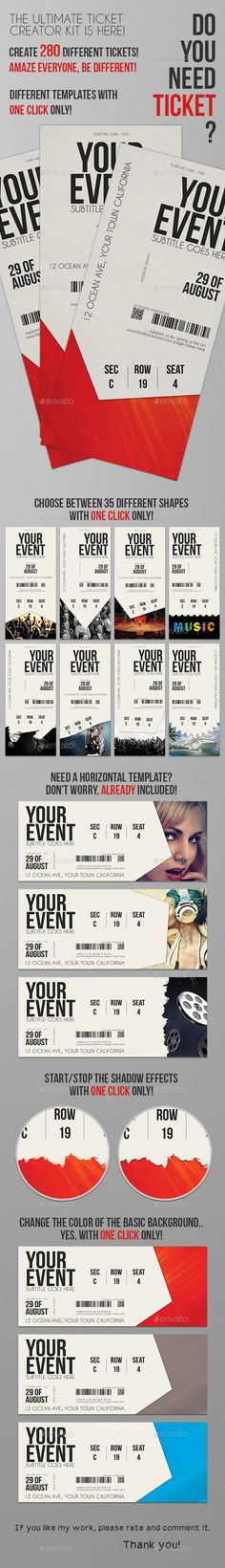 Multipurpose Event Ticket Ticket template, Event ticket and Template - create a ticket template